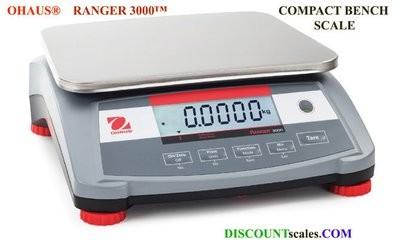 Ohaus R31P1502 Ranger 3000 Compact Bench Scale  (3.0 lb. x 0.0001 lb.)