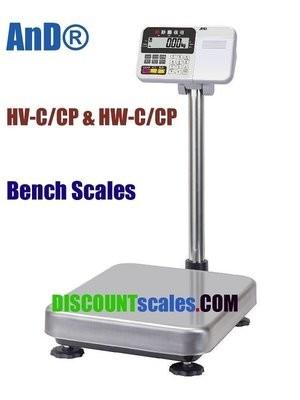 A&D HV-60KCP Bench Scale      (30 / 60 / 150 lb. x 0.01 / 0.02 / 0.05 lb.)
