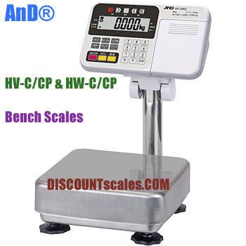 A&D HV-200KCP Bench Scale      (150 / 300 / 500 lb. x 0.05 / 0.1 / 0.2 lb.)