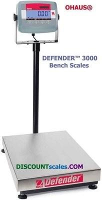 Ohaus D31P15BR Defender 3000 Bench Scale (33 lb. x 0.005 lb.)