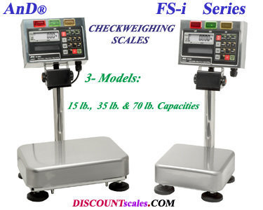 A&D FS-30KiN CheckWeighing Scale (70 lb. x 0.02 lb.)