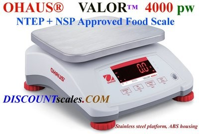 Ohaus® V41PWE1501T Valor™ 4000 Food Scale      (3.0 lb. x 0.0005 lb.)