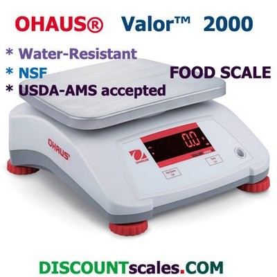 Ohaus® V22XWE3T Valor™ 2000 Food Scale     (6.0 lb. x 0.001 lb.)