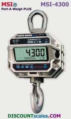 MSI® MSI-4300 20,000 lb F/A Crane Scale | Model 502235-0032 (20,000 lb. x 5.0 lb.)