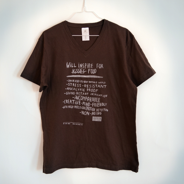 """""""Will inspire for food""""  shirt Guys, brown"""