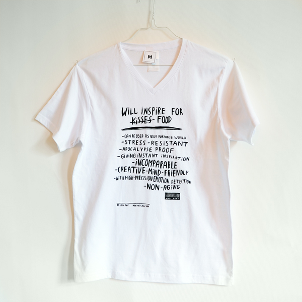 """Will inspire for food""  shirt unisex, white"