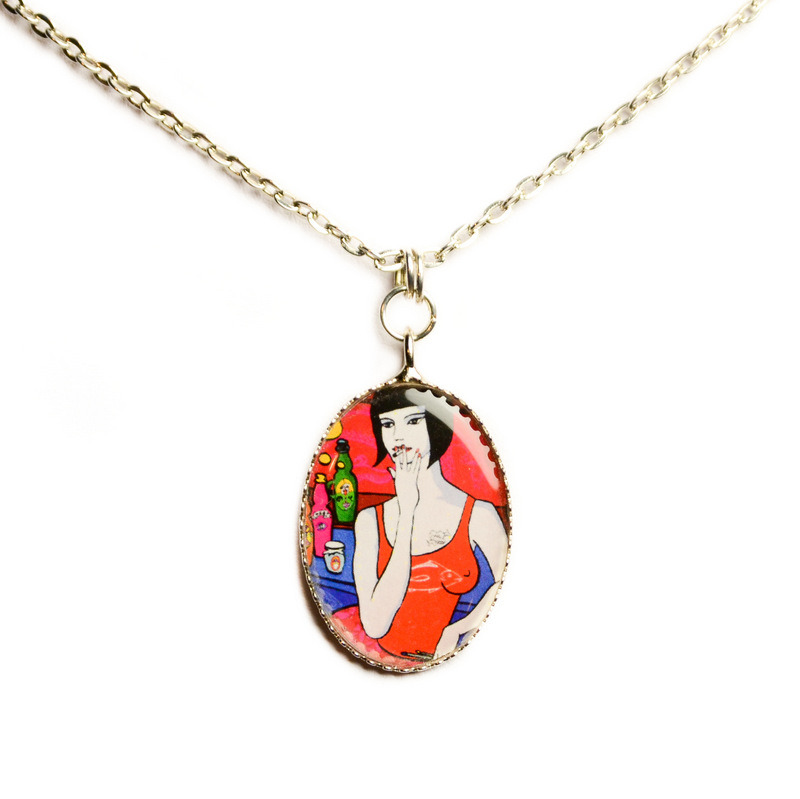 "Pendant necklace ""Red lady"" 00553"
