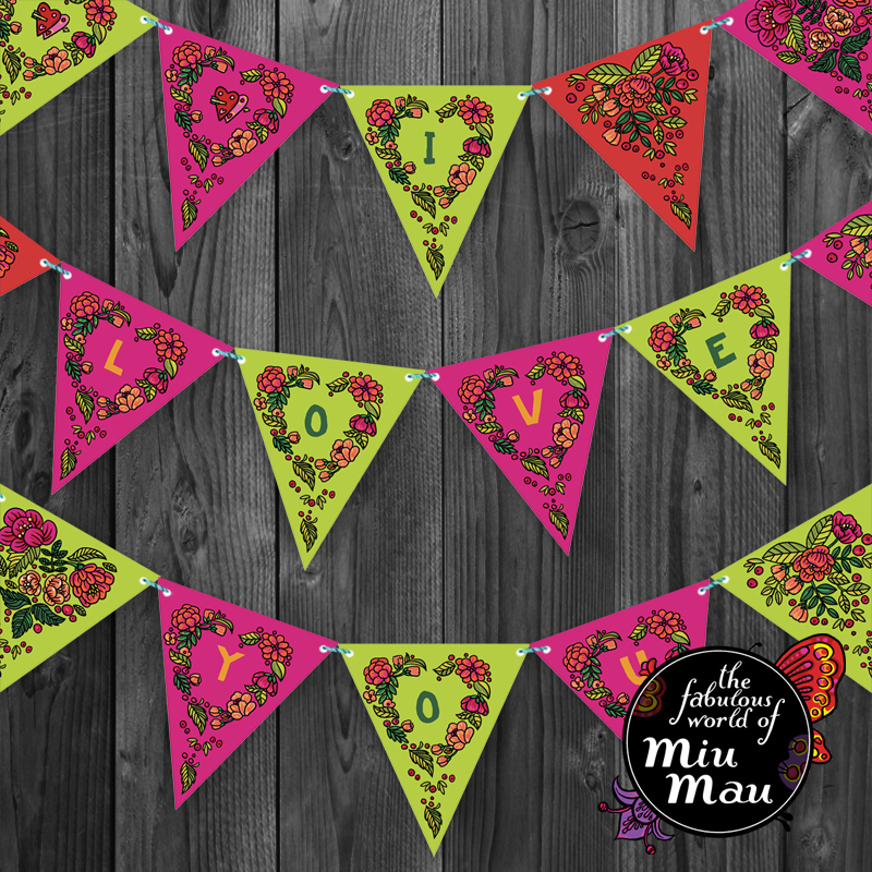 Valentine Party Flags (Green-Pink) 00660