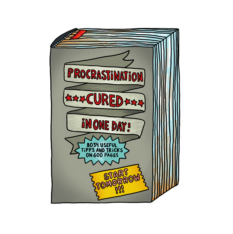 "Postcard: ""Procrastination Cured In One Day"""