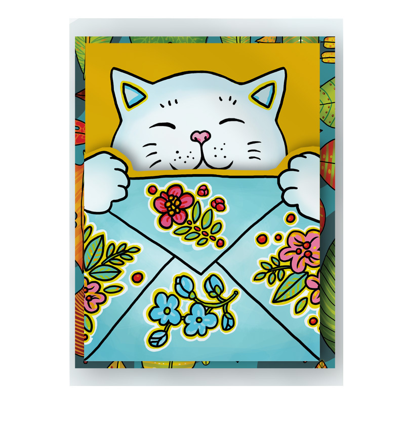 """Romantic Kitty"" Cat-Shaped Postcard"