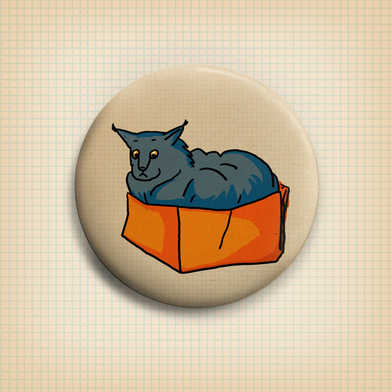 Cat in a Box  Button 50mm 00824