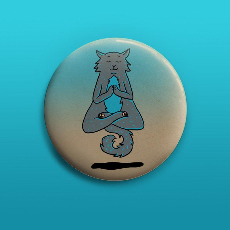 Yoga Cat Button 50mm 00831