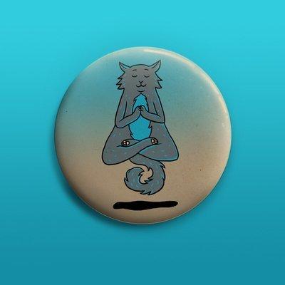 Yoga Cat Button 50mm