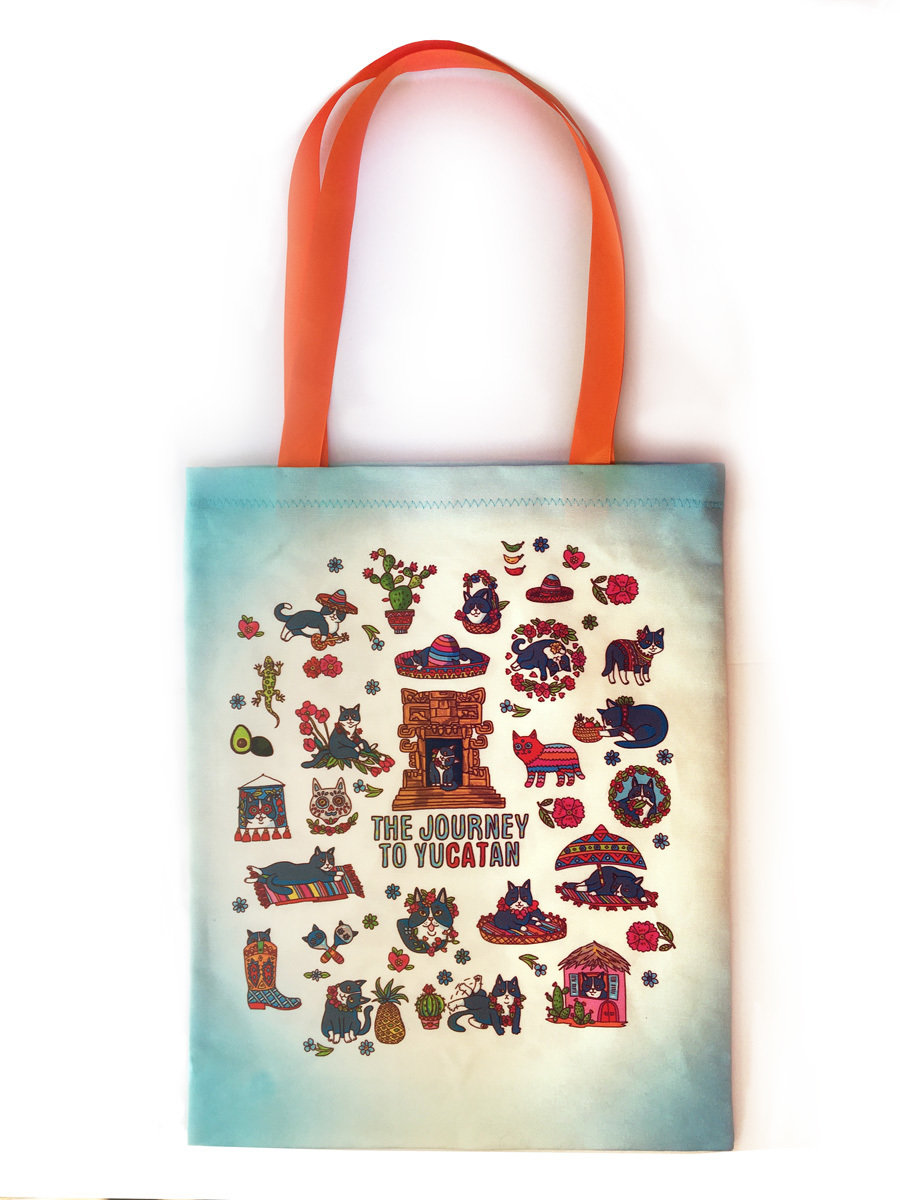 "Tote Bag ""Journey to YuCATan"" BLUE 00840"