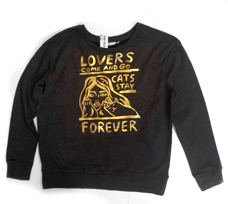 """Softshell shirt """"Cats stay forever"""" - matte gold print (S)"""