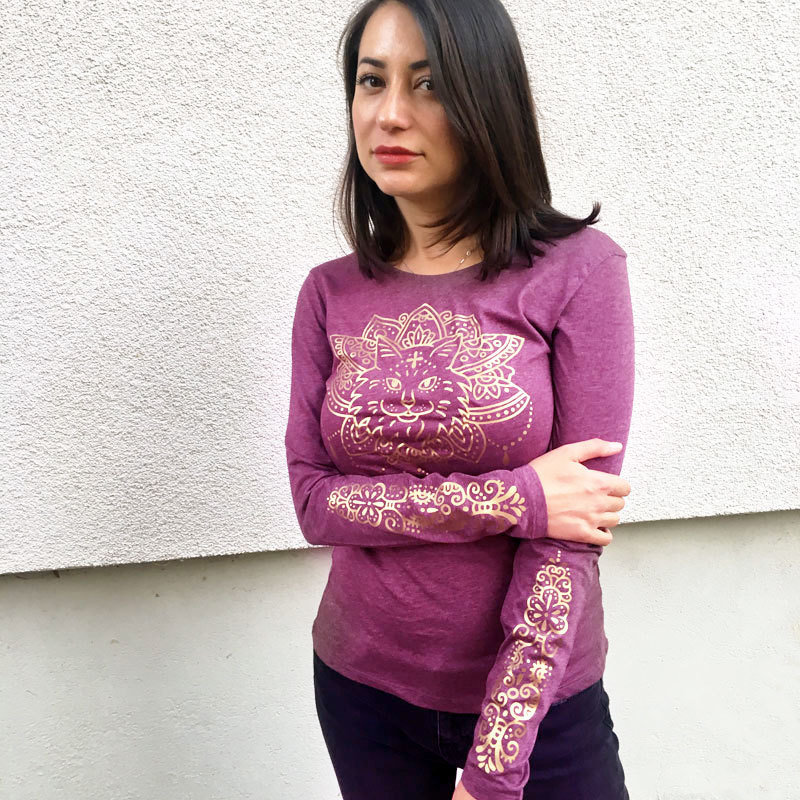 "Shirt ""Purrvana"" Rose 00984"