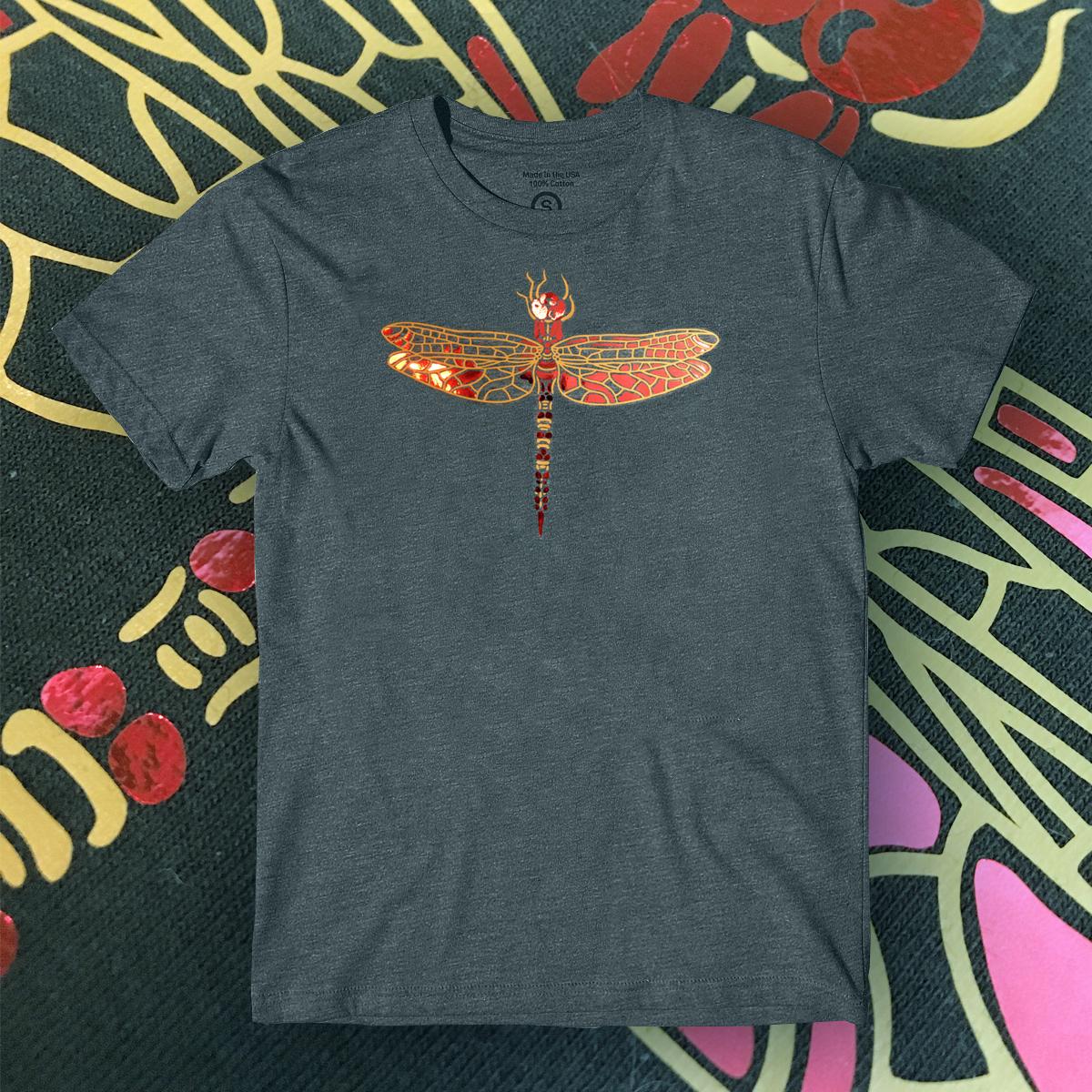 """Shirt """"Dragonfly"""" grey 01066"""