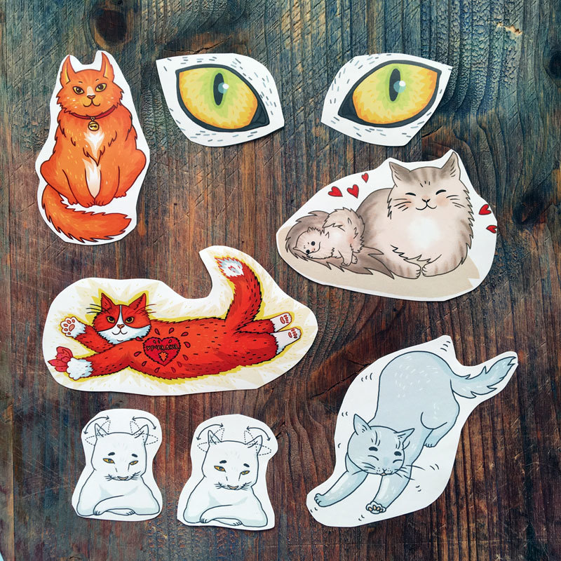 Cat Stickers set of 8 01077