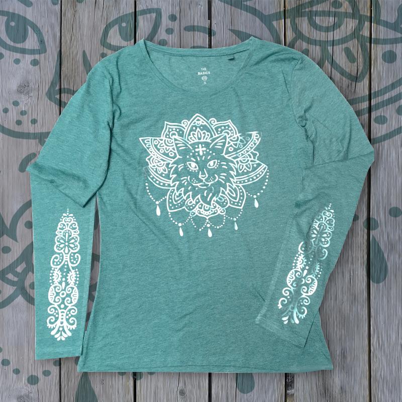 """Shirt """"Purrvana"""" Light Mint + Silver 01083"""