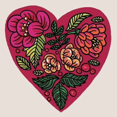 Flowery heart tattoo, set of 3!