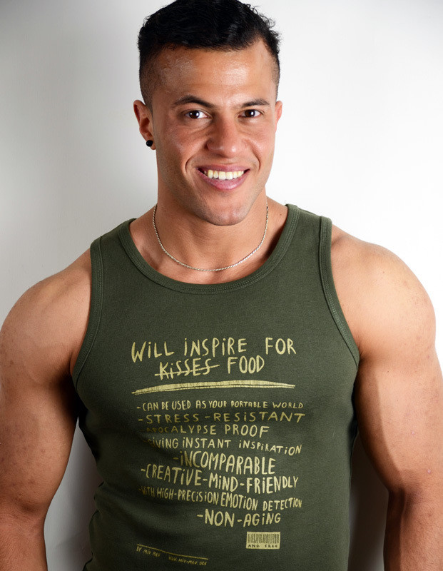 """Will inspire for food""  tank shirt Guys, navy/gold"