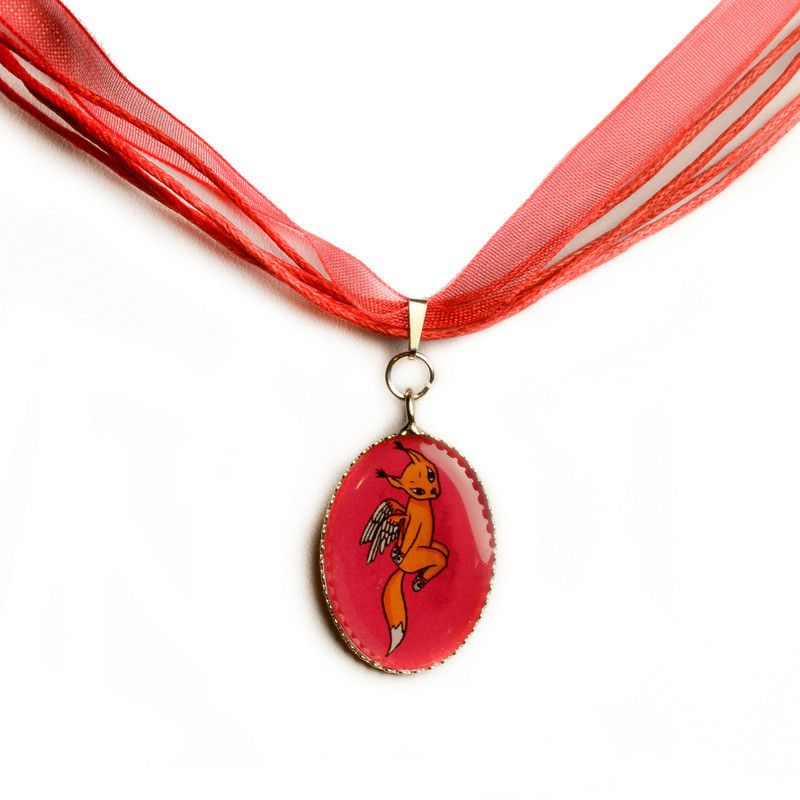 "Red chiffon necklace with ""Squirrel Muse"" pendant"