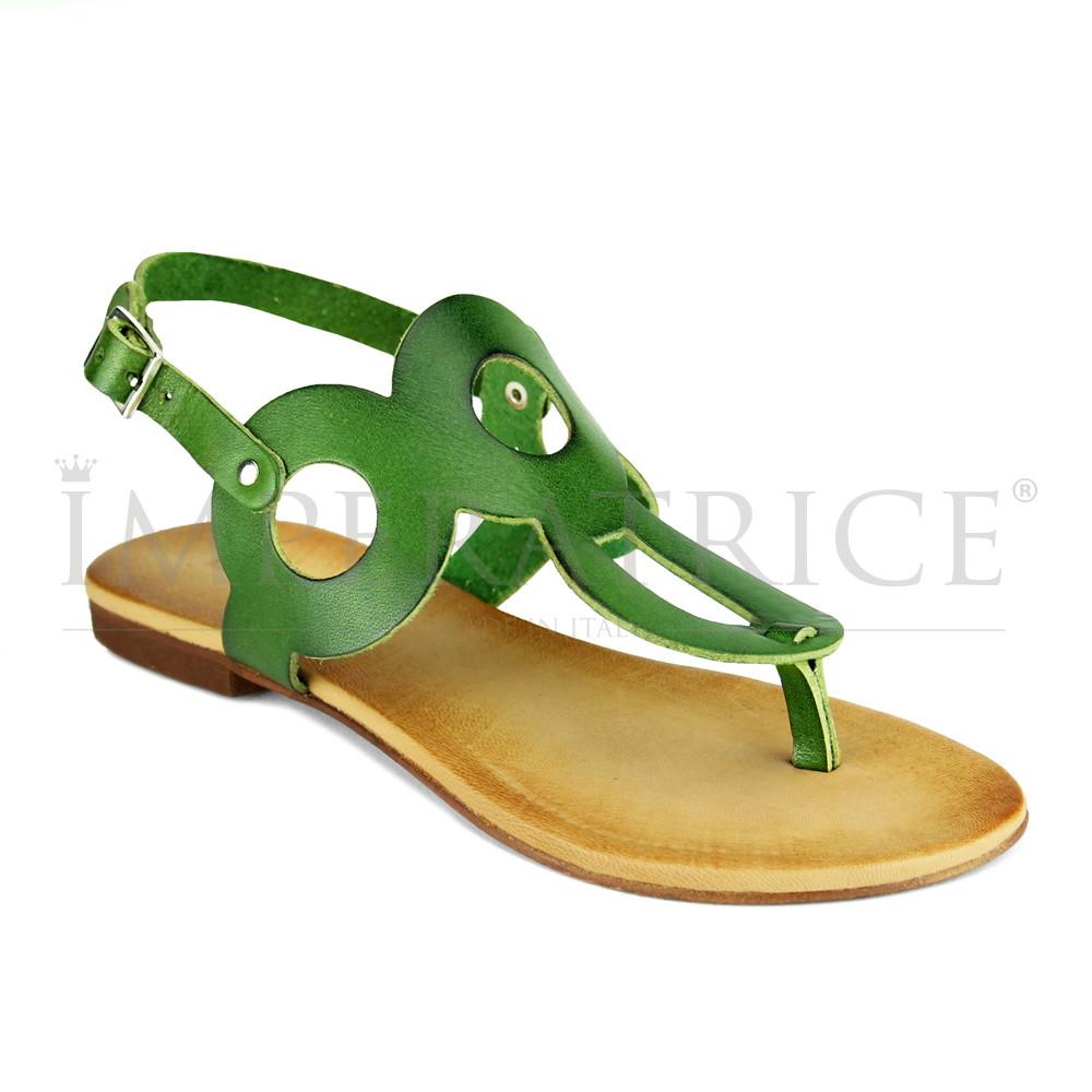 Pelle Vera In Positano Verde Sandali Moda n0wkX8PON