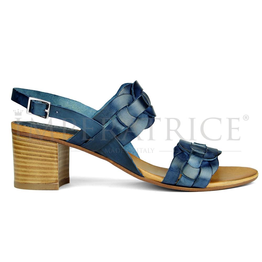 Sandali Vera Cuoio Tacco In Pelle Blu Con Intrecciata 4AL35jR