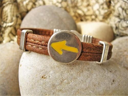 Camino de Santiago Arrow symbol bracelet ~ cork