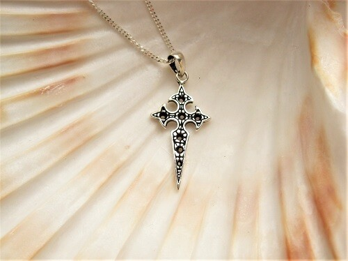 Travellers cross necklace, decorative ~ silver