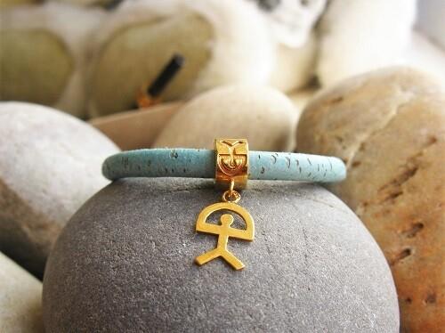 Gold-filled Indalo bead bracelet ~ 5mm on cork-cord