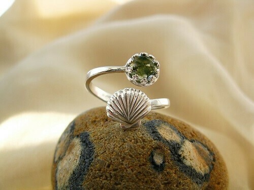 Camino de Santiago ring ~ Scallop shell, silver + green moss agate
