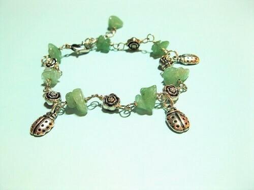 Aventurine lucky charm bracelet ft Ladybirds