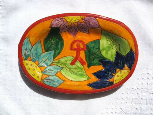Spanish ceramic platter ~ Indalo, flores
