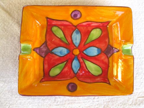Spanish ceramic ashtray / dish ~ oro