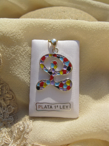 Indalo pendant ~ enamel + silver, dancing large
