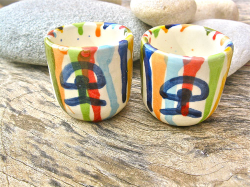 Chupito cup shot glass pair ~ Indalo, rainbow