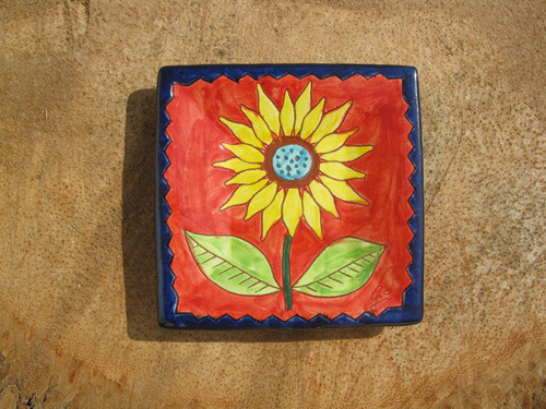 Spanish plate ~ sunflower, square