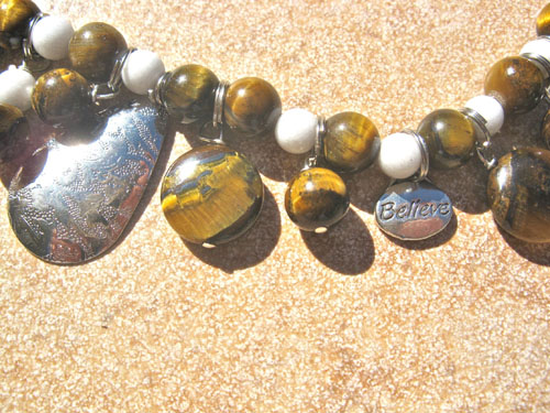 Tigers Eye BELIEVE necklace