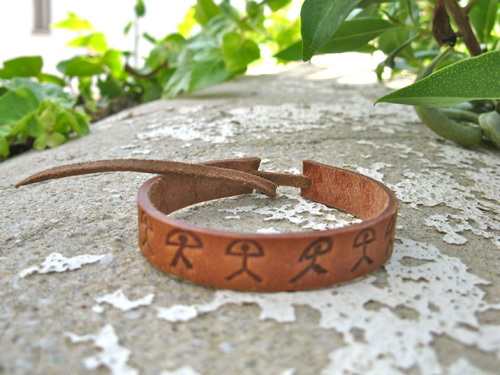 Men's leather bracelet ~ Indalo, mix