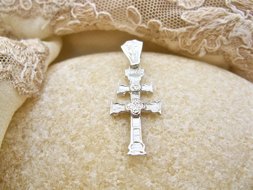 Caravaca cross necklace ~ decorative, silver