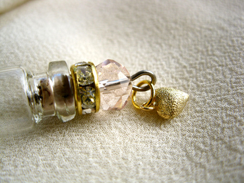 Lourdes water jewellery ~ glass vial necklace ~ gold heart