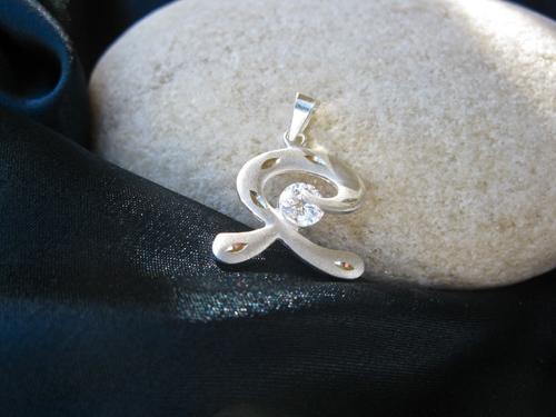 Indalo pendant ~ matte etched, silver + zirconite