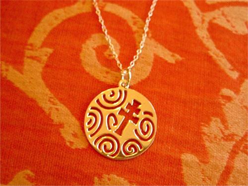 Caravaca cross necklace ~ openwork swirls