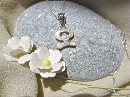 Indalo necklace ~ dancing, small silver + mother-of-pearl