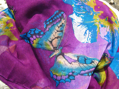 Butterfly scarf ~ deep purple