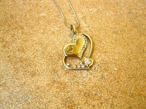 Heart necklace ~ rhinestone trio