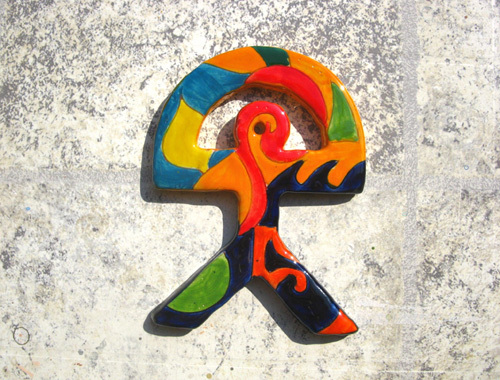 Spanish ceramic Indalo talisman ~ BLUE