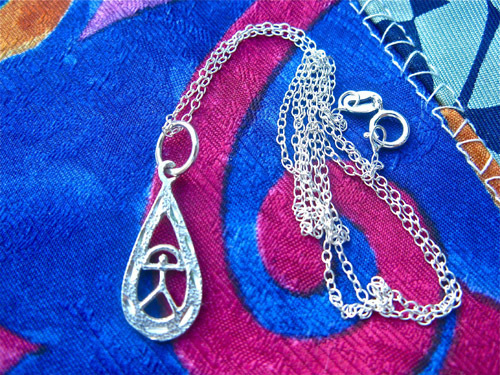 Indalo necklace ~ hammered + etched teardrop