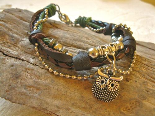 Guardian owl bracelet ~ NaturalSoul, sage